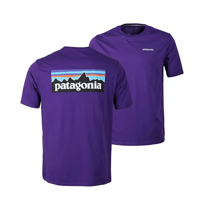 파타고니아 P6 로고 오가닉 반팔티 Purple Online Only